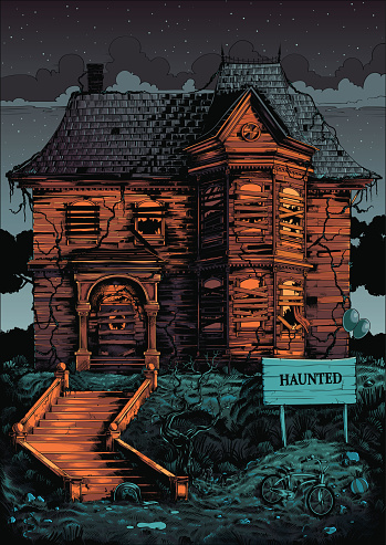 Deserted scary haunted house illustration