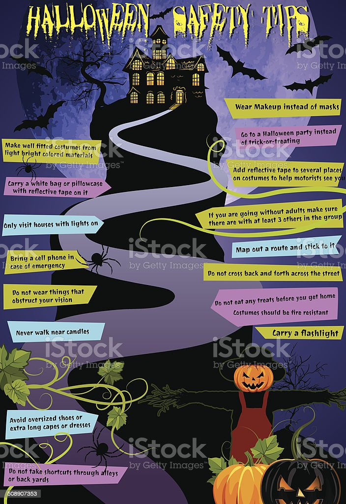 Halloween Haunted House Safety Tips Infographic vector art illustration