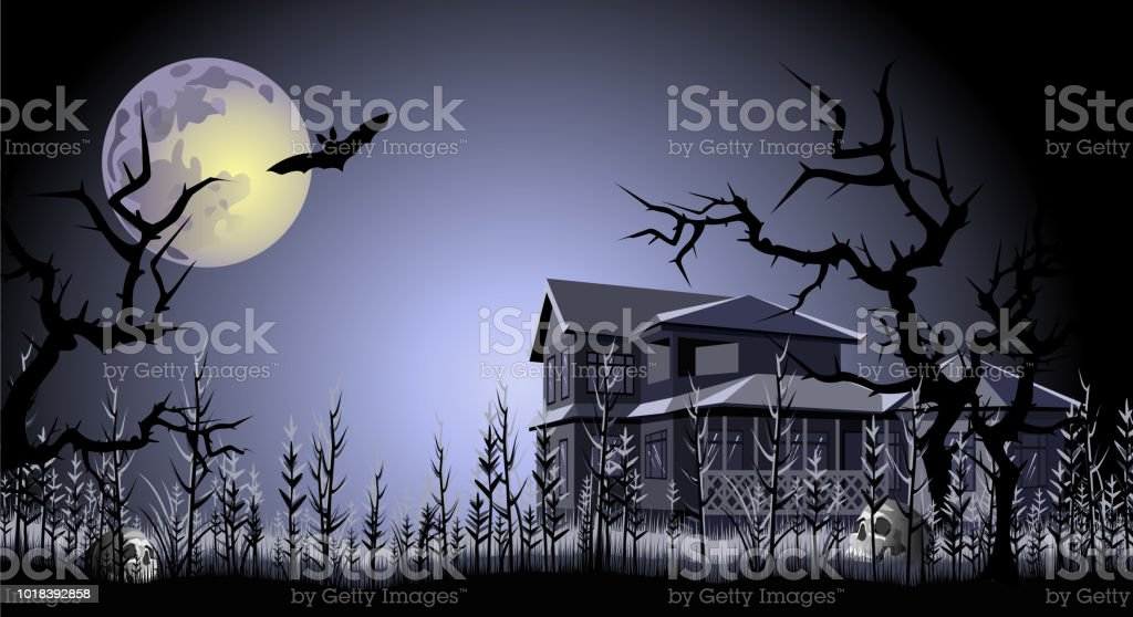 halloween haunted house trees skulls and bat under full moon vector illustration