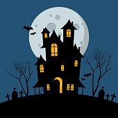 Halloween haunted house. Vector illustration