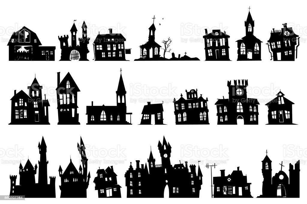 halloween haunted house vector art illustration