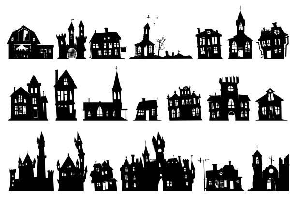 bildbanksillustrationer, clip art samt tecknat material och ikoner med halloween spökhus - fasa