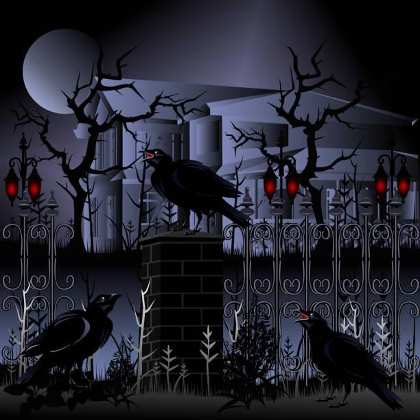 halloween. geisterhaus mit zaun und raben, vektor-illustration. - geistergeschichten stock-grafiken, -clipart, -cartoons und -symbole