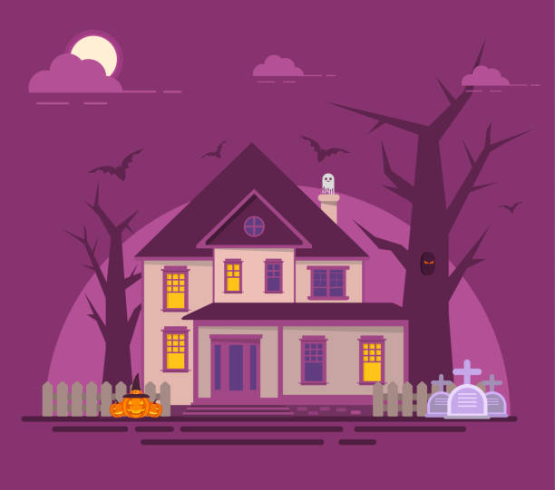 Halloween haunted house.Old cemetery gravestone. Spooks and pumpkin,bat flat vector. spooky halloween town stock illustrations