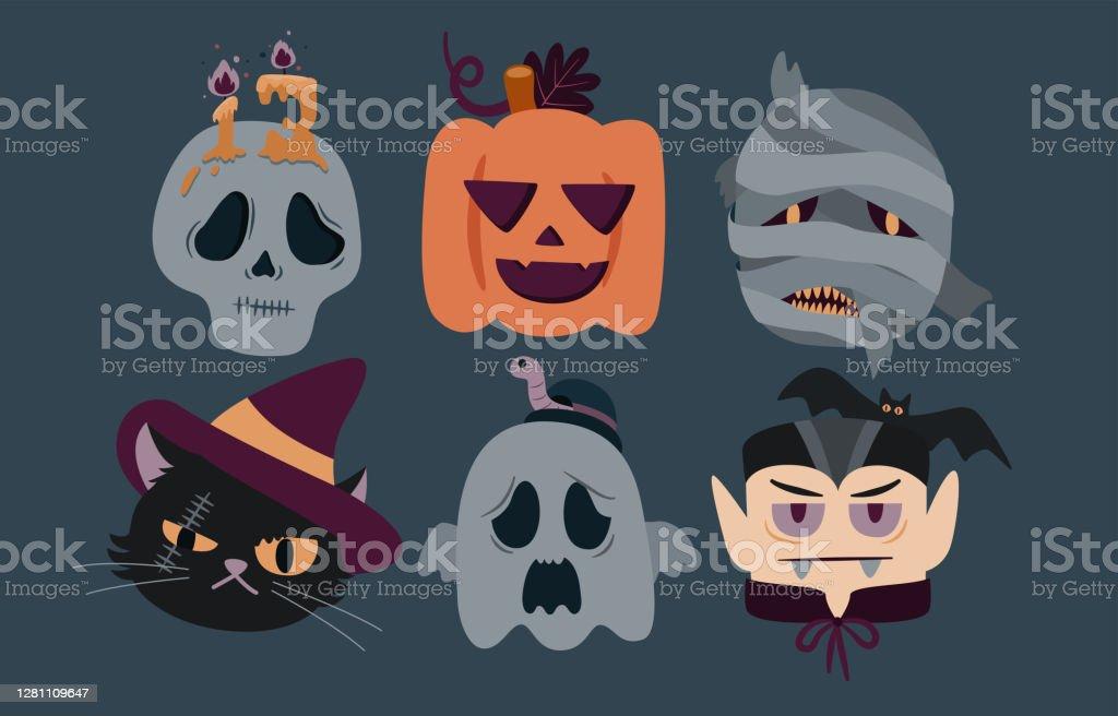 Vetores De Halloween Head Personagem Set Skull Jack O Lantern Mumia Gato A Bruxa Fantasma E Vampiro Vetor Ilustrador E Mais Imagens De Arte Istock
