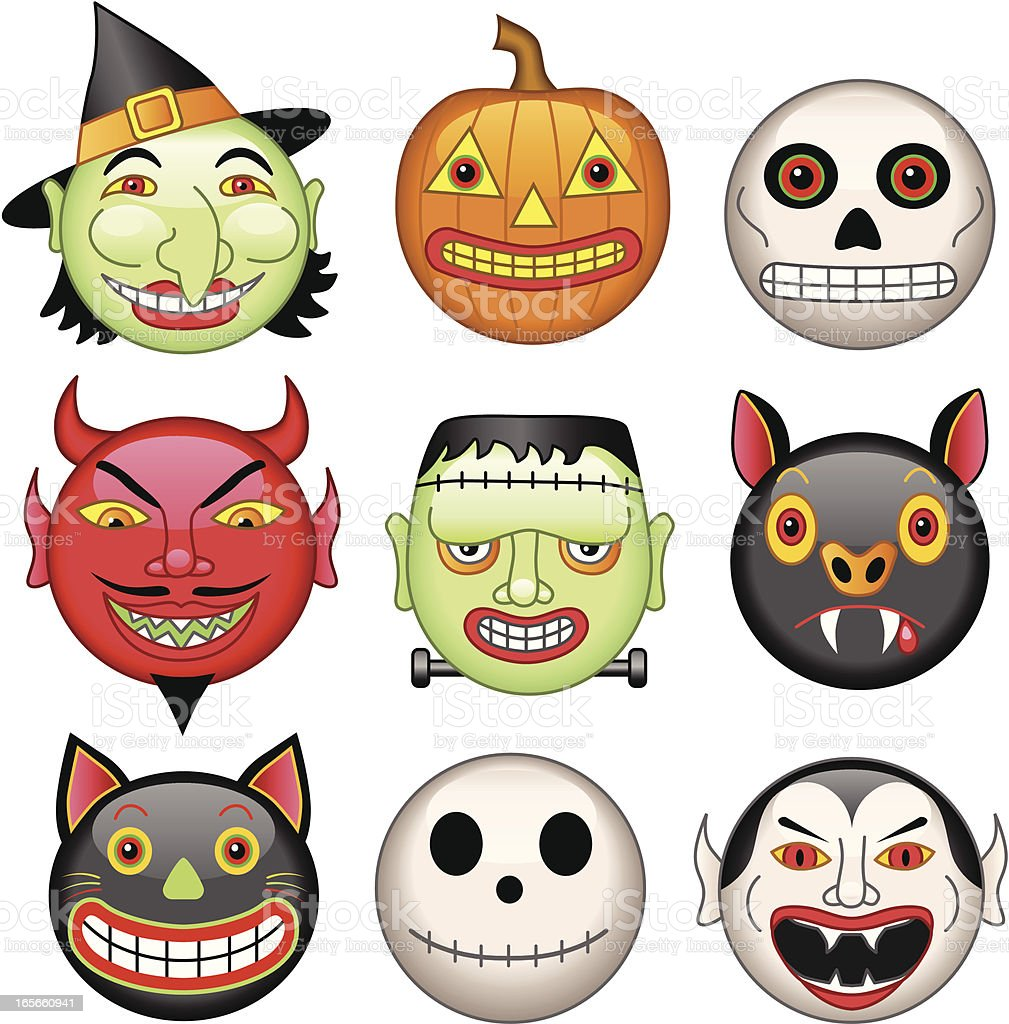 Halloween heads royalty-free stock vector art