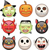 Vector illustration of various Halloween characters.
