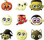 A set of Halloween heads. Includes a pumpkin, a ghost, Frankenstein, a skull, the Devil, Dracula, an old witch, a mummy, and a black cat.