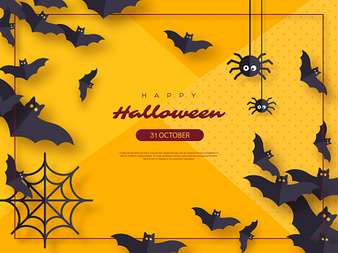 Halloween holiday background. Paper cut style flying bats and spiders. Yellow color background with frame and greeting text, vector illustration.