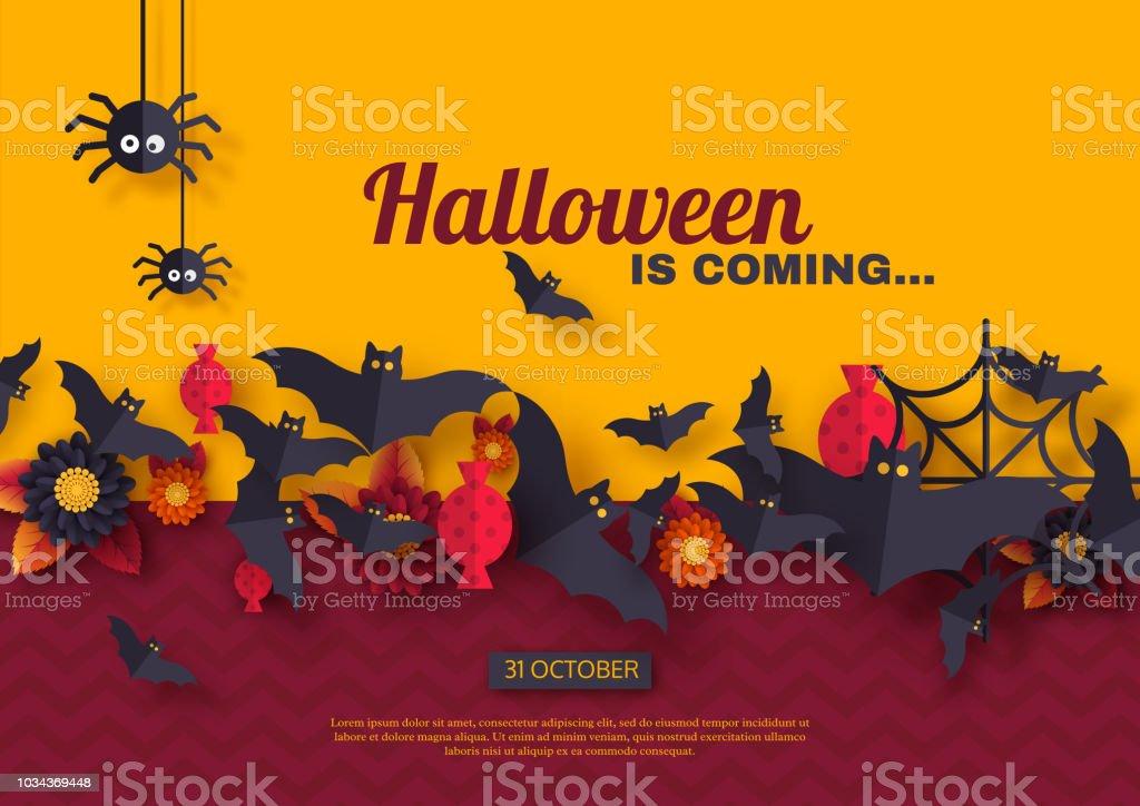 Cadılar Bayramı tatil arka plan. Kağıdı tarzı uçan yarasalar, şeker, çiçekler ve örümcekler kesin. Mor ve sarı renk arka plan metin, vektör çizim tebrik ile. vektör sanat illüstrasyonu