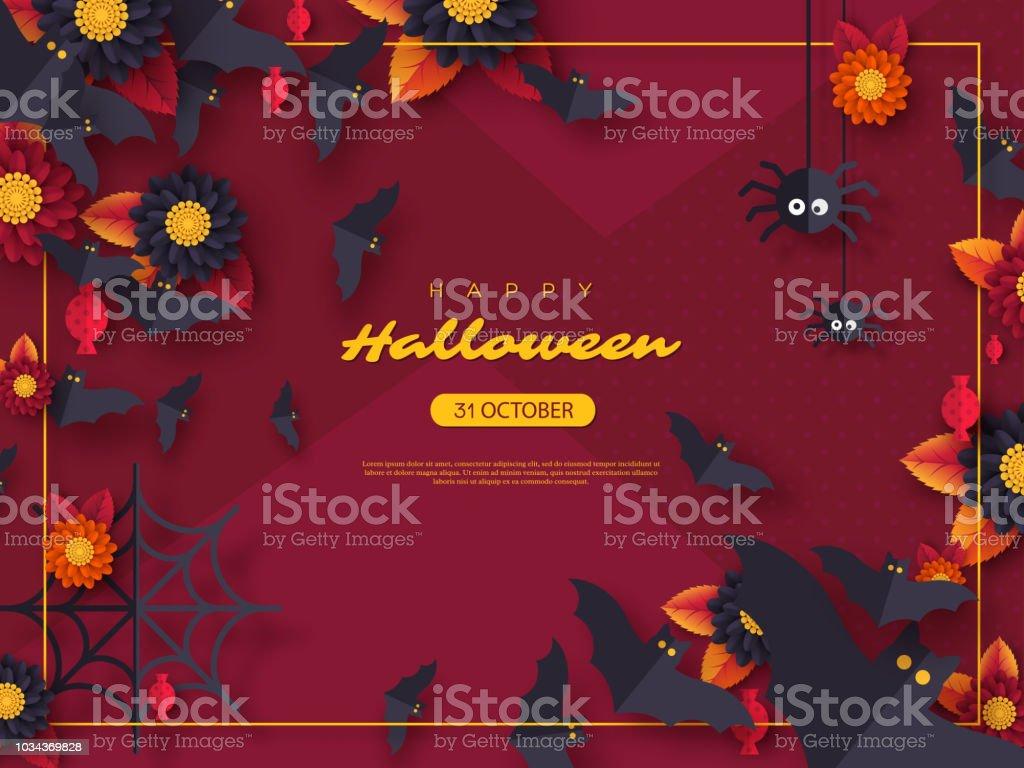 Cadılar Bayramı tatil arka plan. Kağıdı tarzı uçan yarasalar, şeker, çiçekler ve örümcekler kesin. Renk arka plan metin tebrik ile mor, illüstrasyon vektör. vektör sanat illüstrasyonu
