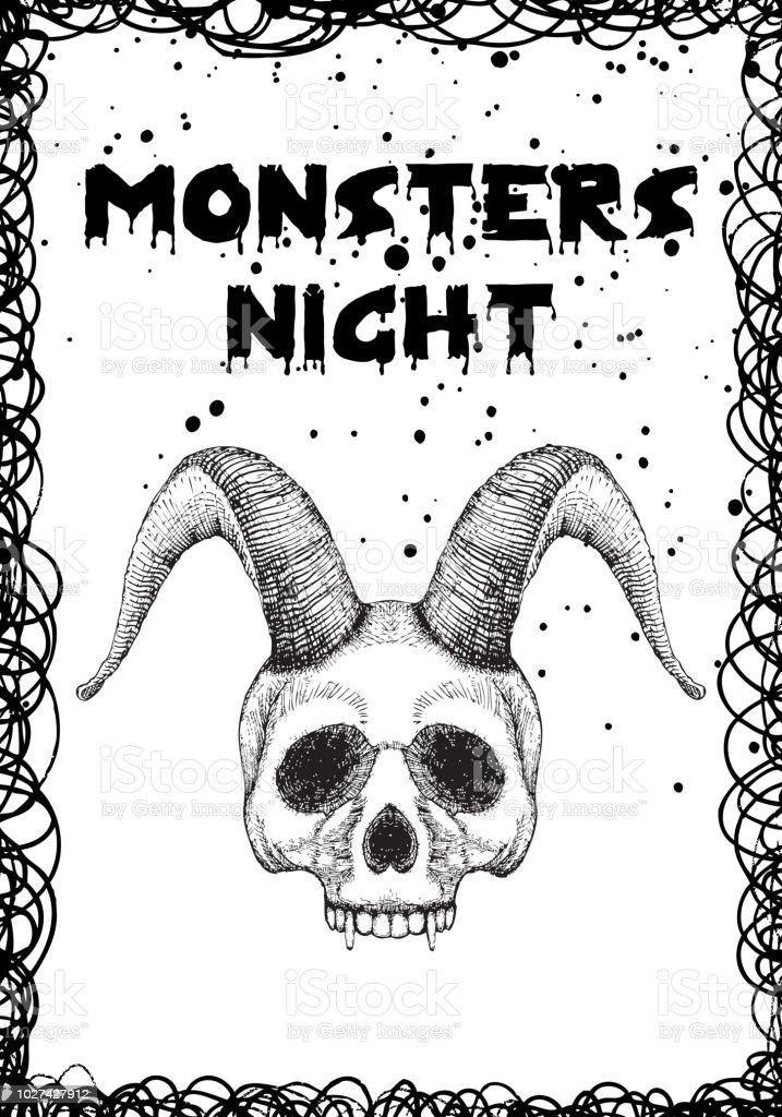 Ilustración De Tarjeta Del Día De Fiesta Negro De Halloween