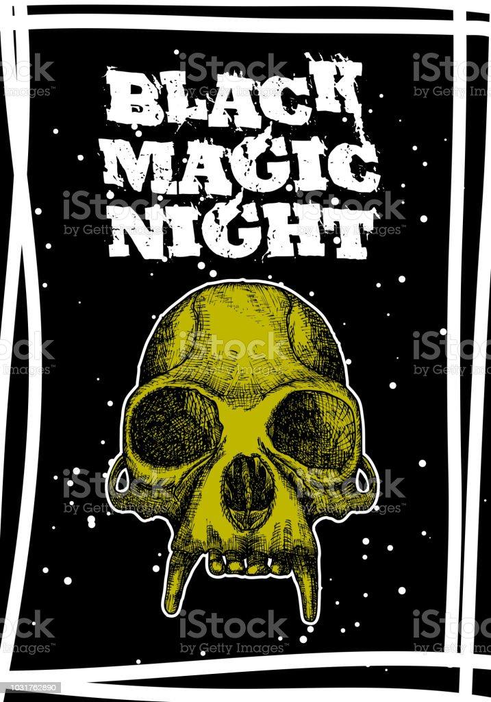 halloween holiday black card with demon skull hand drawn flyer