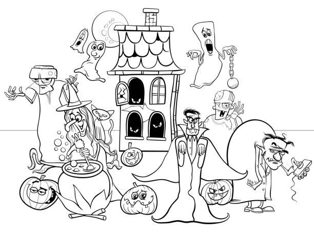 할로윈 휴가 만화 캐릭터 색칠 공부 - 색칠하기 stock illustrations