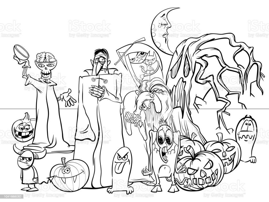 Ilustración de Halloween Fiesta Divertidos Personajes De Dibujos ...