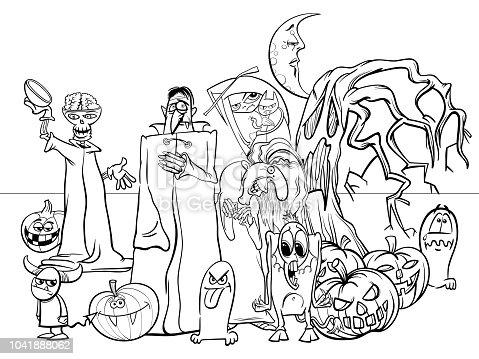 istock Halloween fiesta de miedo personajes de dibujos animados ...
