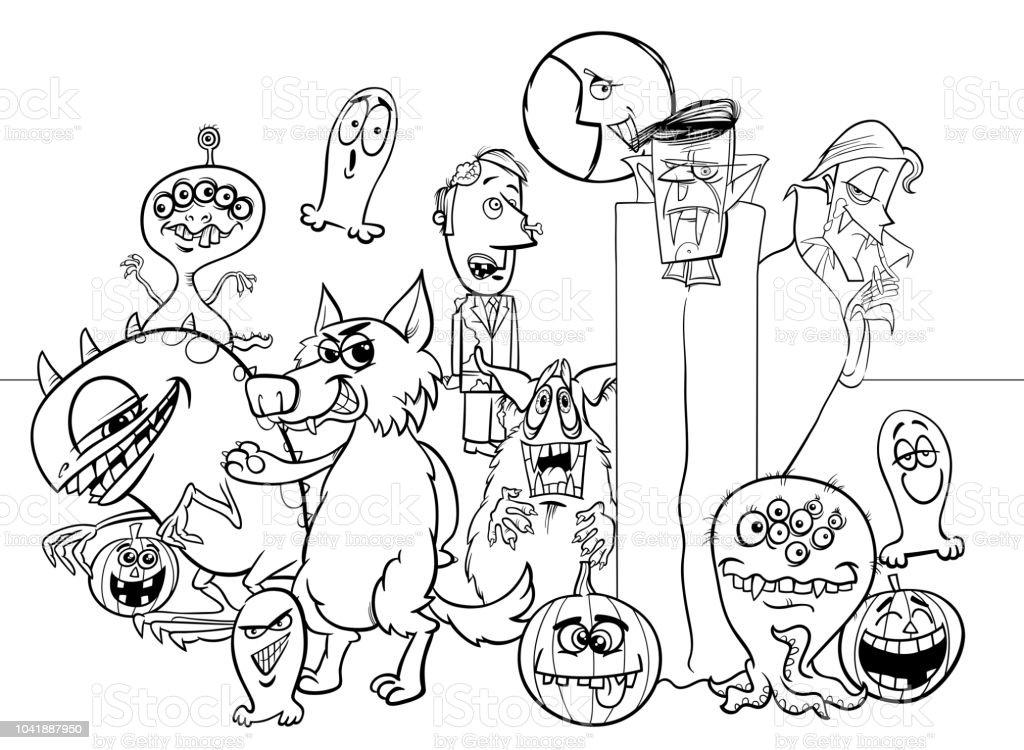 ハロウィーンの休日漫画のモンスター キャラクター塗り絵 お絵かきの