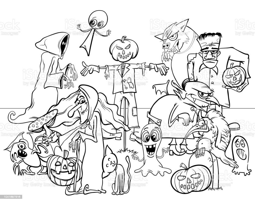 ilustração de halloween feriado assustadores personagens de desenhos