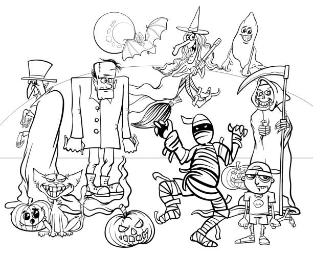 Halloween holiday cartoon spooky characters coloring book Black and White Cartoon Illustration of Halloween Holiday Monsters and Creatures Group Coloring Book cat skeleton stock illustrations