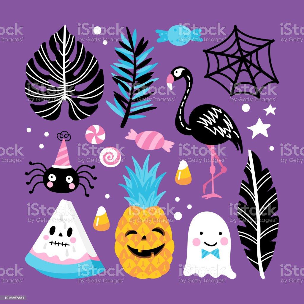 halloween holiday creative design with pineapple flamingo watermelon