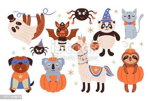 Halloween holiday cute animals in costumes set. Childish print for cards, stickers, apparel and nursery decoration. Vector Illustration