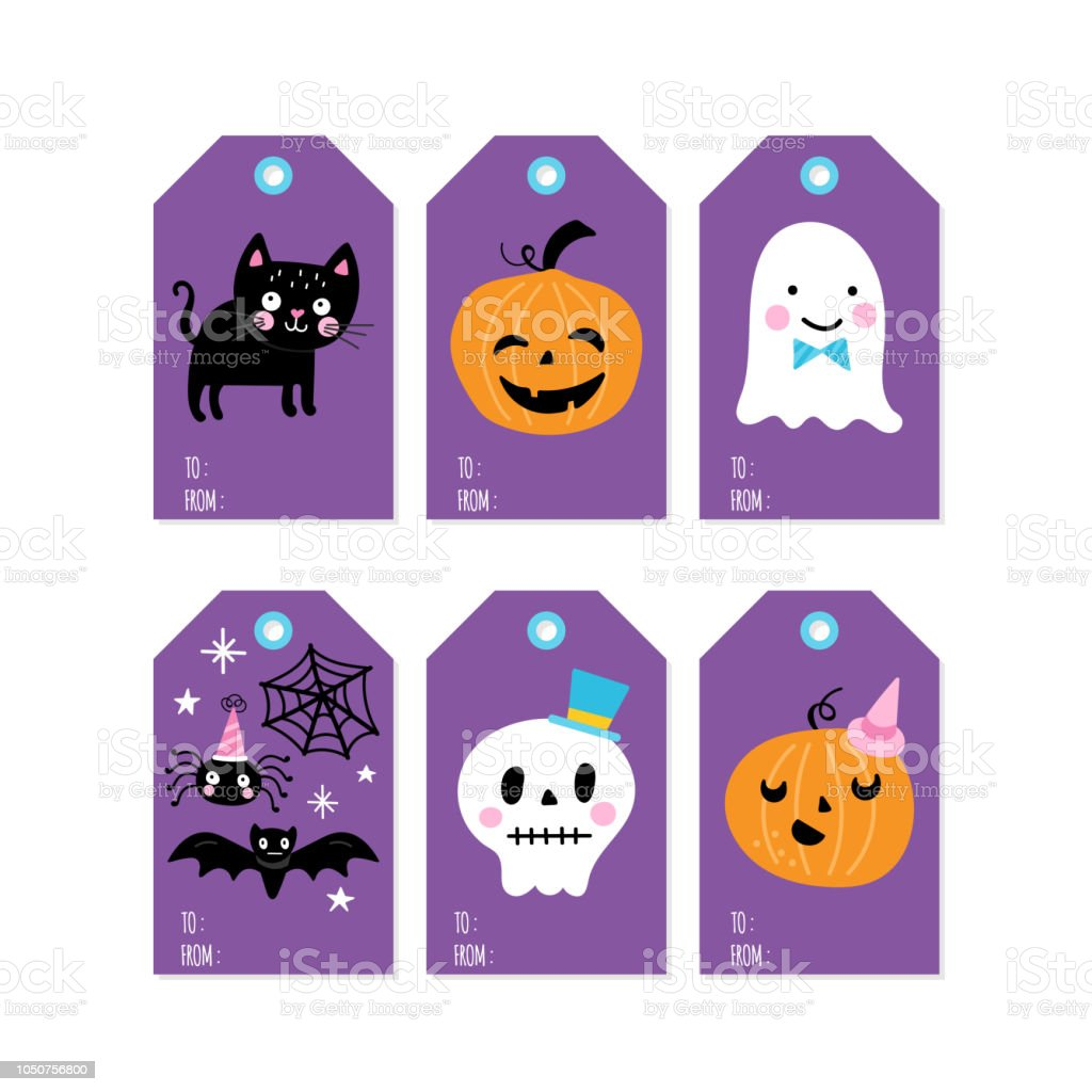 Halloween Gift Tags.Halloween Holiday Cute Gift Tags And Lebels Set Stock Illustration Download Image Now