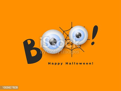 Halloween holiday design. Hand drawn Boo with 3d realistic eyes. Black spiderweb and orange background. Vector illustration.