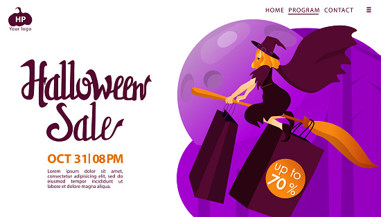 Halloween holiday greeting invitation to sale. Witch flying on a scare space abstract background.