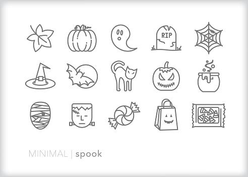 Halloween holiday line icon set