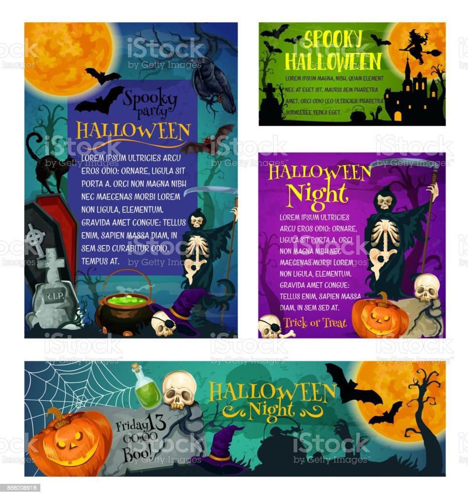 Halloween Urlaub Party Trick Behandeln Vektor Poster Stock Vektor ...