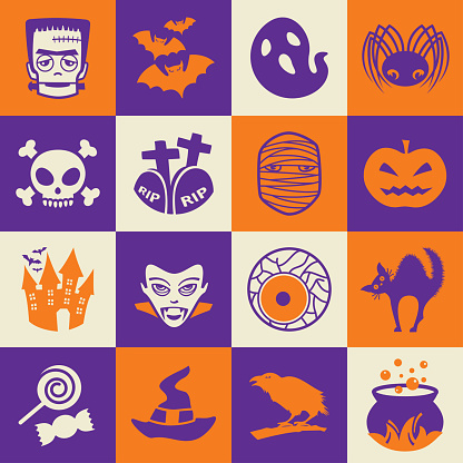 Halloween holiday square icons set