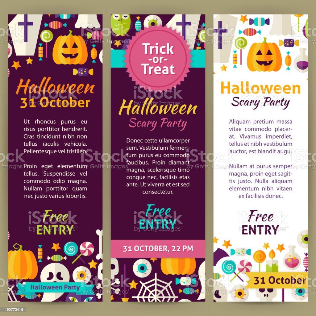 Halloween Holiday Vector Party Invitation Template Flyer Set vector art illustration