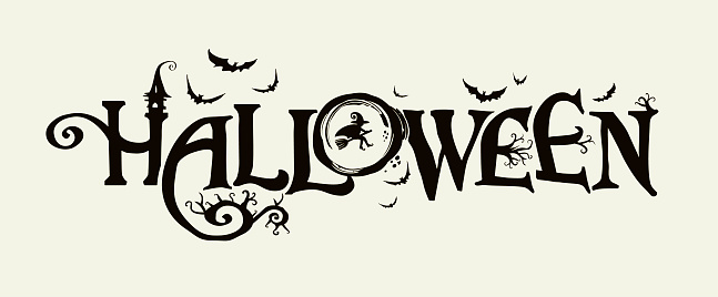 Halloween horizontal banner with vector logo. The inscription with ominous tree branches, bats and a pretty witch on a background of the full moon.