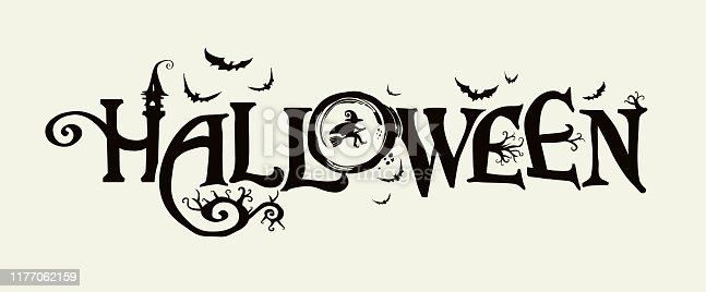 istock Halloween horizontal banner with vector logo. The inscription with ominous tree branches, bats and a pretty witch on a background of the full moon. 1177062159