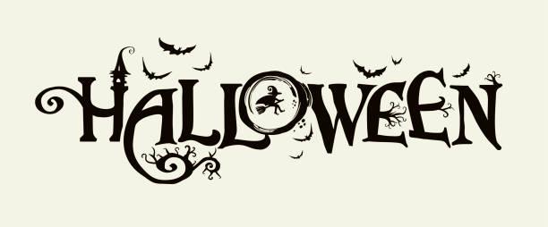 illustrazioni stock, clip art, cartoni animati e icone di tendenza di striscione orizzontale di halloween con logo vettoriale. l'iscrizione con rami minacciosi di alberi, pipistrelli e una bella strega su uno sfondo della luna piena. - halloween