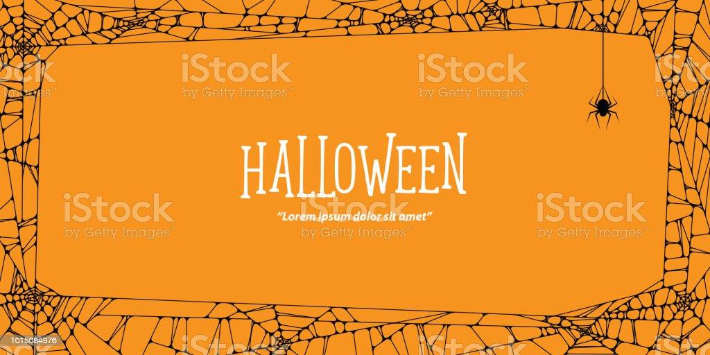 Halloween Horizontalen Rahmen Schwarz Spinnennetz Und Spinne Auf ...
