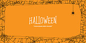 Halloween  horizontal frame black cobweb and spider on orange background ilustration vector. Halloween concept.