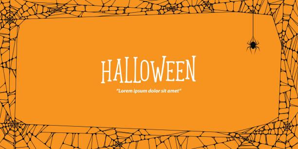 萬聖節水準框架黑色蛛網和蜘蛛在橙色背景 ilustration 向量。萬聖節的概念。 - halloween 幅插畫檔、美工圖案、卡通及圖標