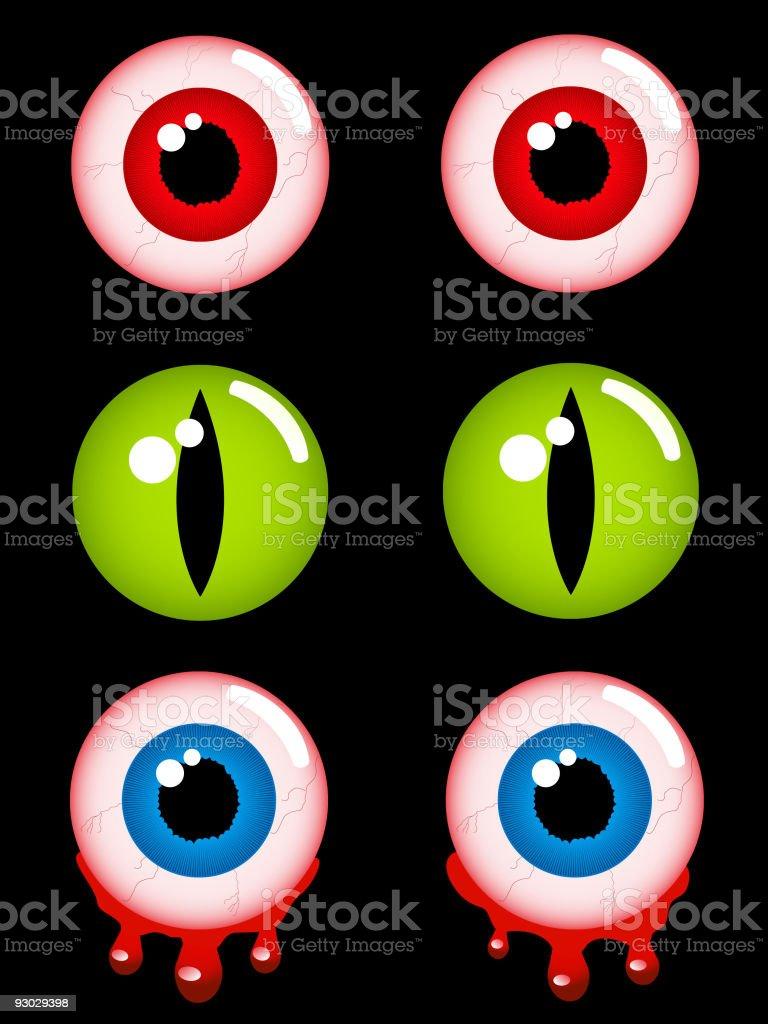Halloween horror eyes vector art illustration