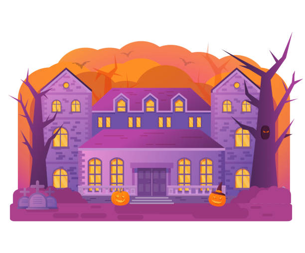 Halloween house. Old cemetery gravestone. Horror story.Night banner.Flat illustration vector. spooky halloween town stock illustrations