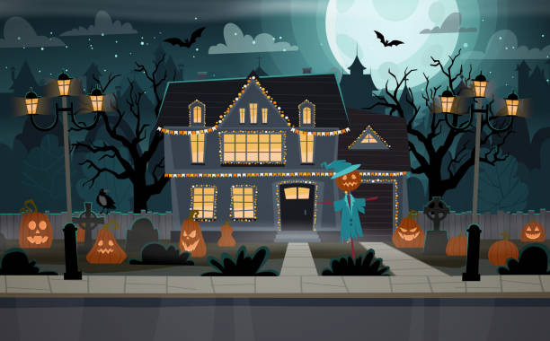Halloween house Halloween decorated house. Building front view with  graves, pumpkins, scarecrow. Happy Halloween banner. Halloween celebration concept vector illustration. spooky halloween town stock illustrations