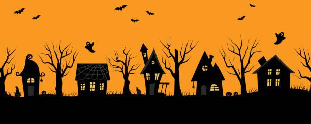 Halloween houses. Creepy village. Seamless border vector art illustration