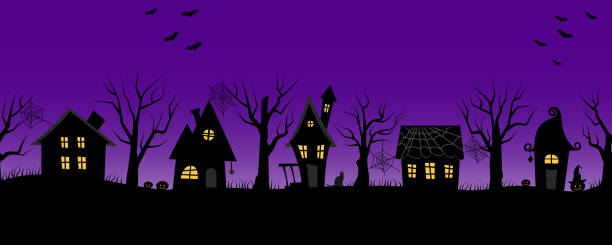 Halloween houses. Spooky village. Seamless border Halloween houses. Spooky village. Seamless border. Black silhouettes of houses and trees on a purple background. There are also bats, pumpkins and a cat in the picture. Vector illustration scary halloween scene silhouettes stock illustrations