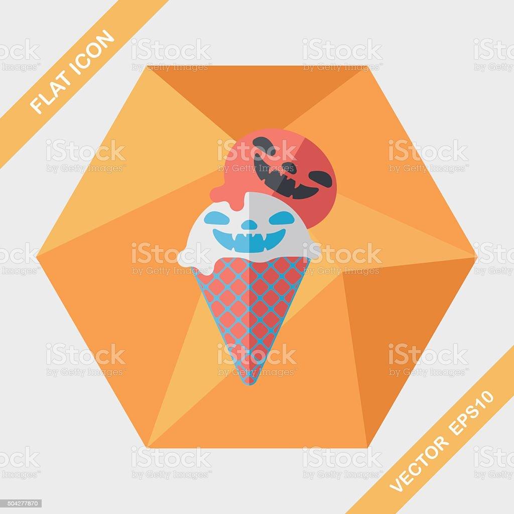 Halloween ice cream flat icon with long shadow,eps10 vector art illustration
