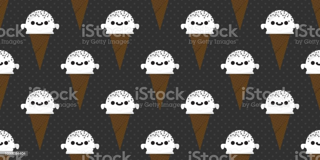 Halloween Ijs.Halloween Ijs Naadloze Patroon Glimlachend Schattig Ghost