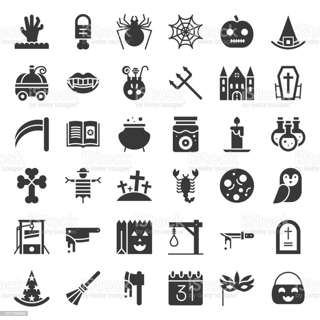 萬聖節圖示集元素, 字形設計向量藝術插圖