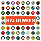 halloween icon set flat