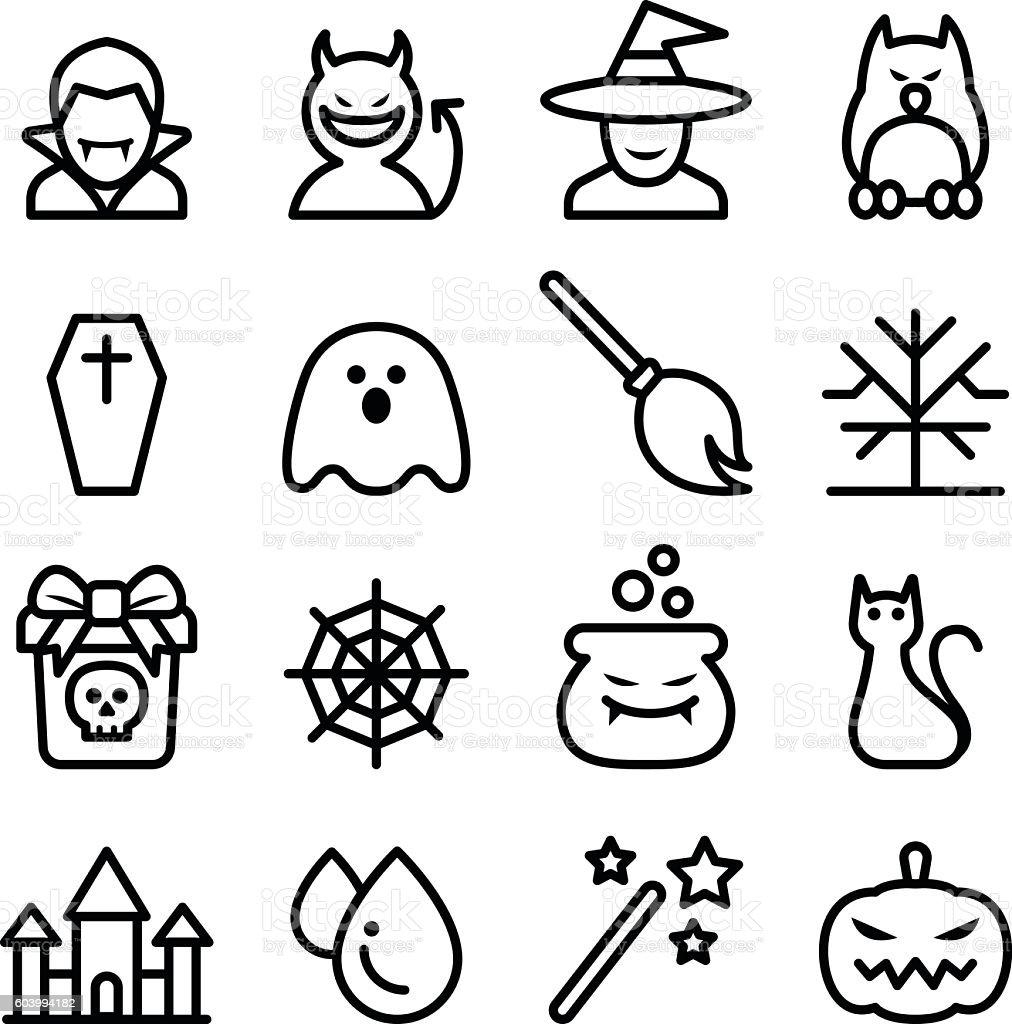 Halloween icon set in thin line style vector art illustration