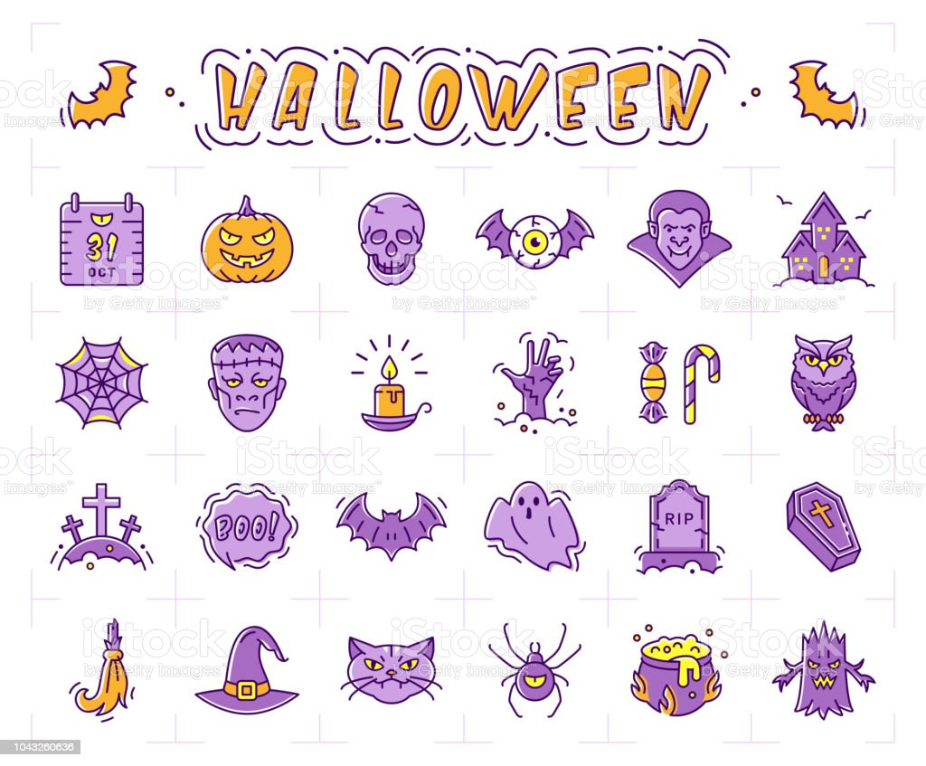 Halloween Icon Set Pumpkin Vampire Witch Bat And Other Halloween