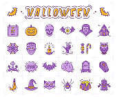 Halloween icon set. Pumpkin, vampire, witch, bat and other Halloween icons. Isolated multicolor Halloween symbols. Vector